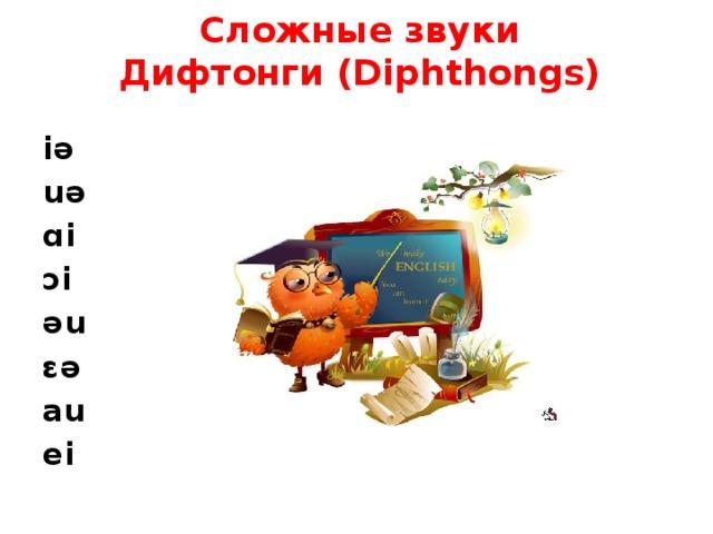 Сложные звуки  Дифтонги (Diphthongs)   iə uə ɑi ɔi əu ɛə au ei
