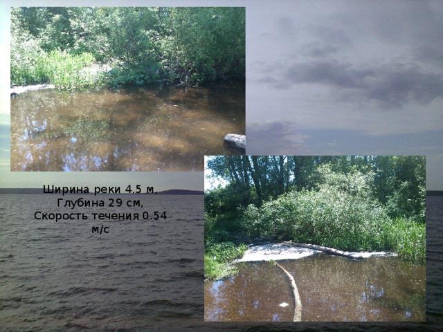 Ширина реки 4.5 м, Глубина 29 см, Скорость течения 0.54 м/с