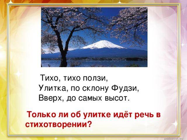 Тихо, тихо ползи, Улитка, по склону Фудзи, Вверх, до самых высот.  Только ли об улитке идёт речь в стихотворении?