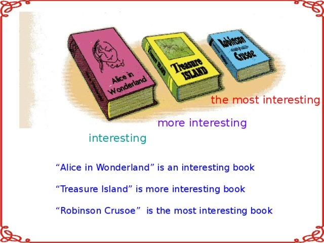 """the most interesting more interesting interesting """" Alice in Wonderland"""" is an interesting book """" Treasure Island"""" is more interesting book """" Robinson Crusoe"""" is the most interesting book"""