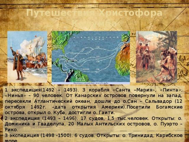 Путешествия Христофора Колумба 1 экспедиция(1492 – 1493). 3 корабля «Санта –Мария», «Пинта», «Нинья» – 90 человек. От Канарских островов повернули на запад, пересекли Атлантический океан, дошли до о.Сан – Сальвадор (12 октября 1492г. –дата открытия Америки).Посетили Богамские острова, открыл о. Куба, достигли о. Гаити. 2 экспедиция (1493 – 1496). 17 судов, 1,5 тыс.человек. Открыты: о. Доминика и Гваделупа, 20 Малых Антильских островов, о. Пуэрто – Рико. 3 экспедиция (1498 -1500). 6 судов. Открыты: о. Тринидад, Карибское море. 4 экспедиция (1502 – 1504). 4 судна. Открыты: о. Мартиника, Гондурасский залив, Гондурас, Никарагуа, Коста – Рика, Панама.