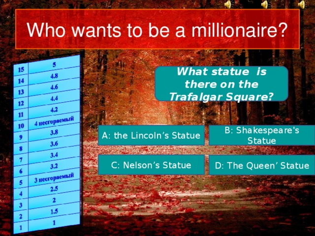 Who wants to be a millionaire? What statue is there on the Trafalgar Square? A: the Lincoln's Statue B: Shakespeare's Statue C: Nelson's Statue D: The Queen' Statue