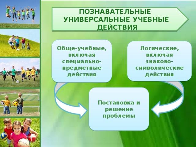 Познавательные универсальные учебные действия Обще-учебные, включая специально-предметные действия Логические, включая знаково-символические действия Постановка и решение проблемы