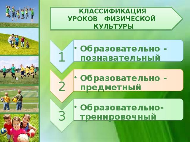 1 Образовательно - познавательный Образовательно - познавательный 2 Образовательно - предметный Образовательно - предметный 3 Образовательно- тренировочный Образовательно- тренировочный Классификация уроков физической культуры