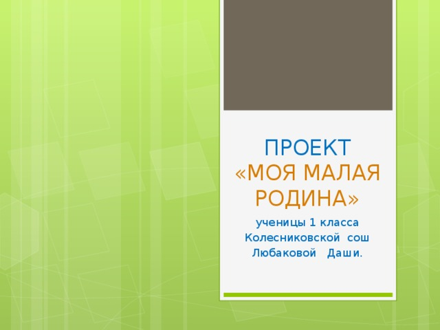 ПРОЕКТ  «МОЯ МАЛАЯ РОДИНА» ученицы 1 класса Колесниковской сош Любаковой Даши.
