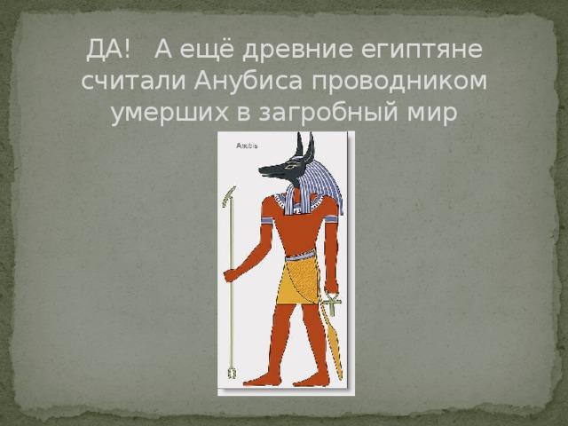 ДА! А ещё древние египтяне считали Анубиса проводником умерших в загробный мир