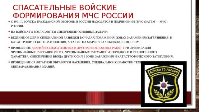 Спасательные войские формирования МЧС России