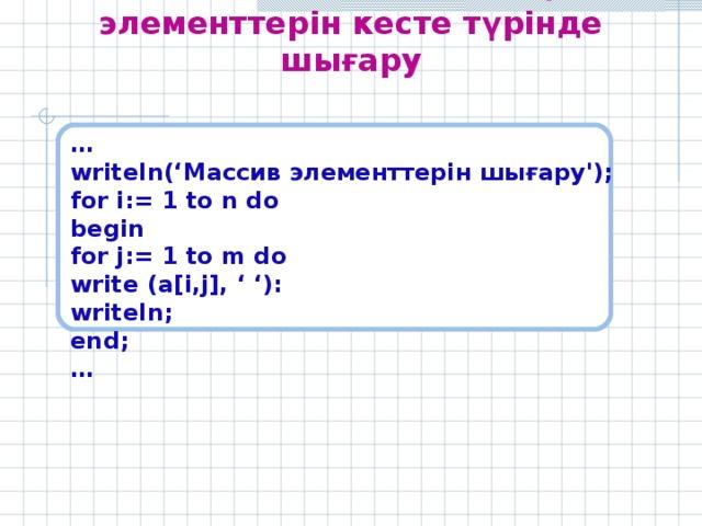 Екіөлшемді массивтің элементтерін кесте түрінде шығару  … writeln(' Массив элементтерін шығару ') ;  for i:= 1 to n do begin for j:= 1 to m do write (a[i,j], ' '): writeln; end; …