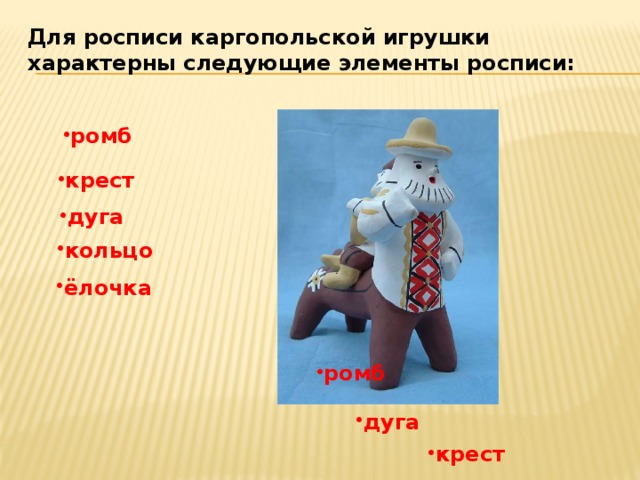 Для росписи каргопольской игрушки характерны следующие элементы росписи: