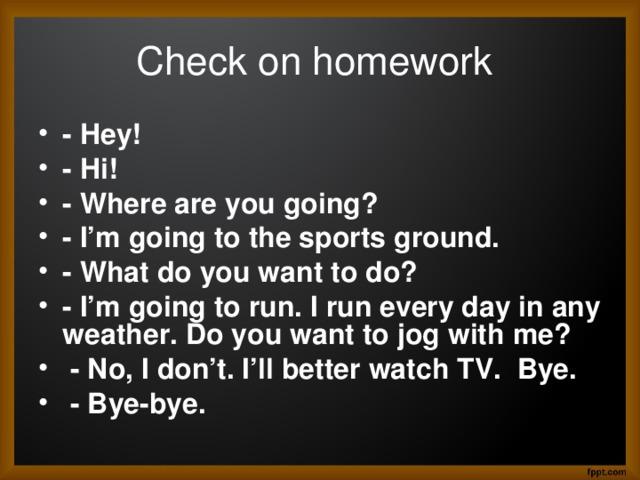 Check on homework