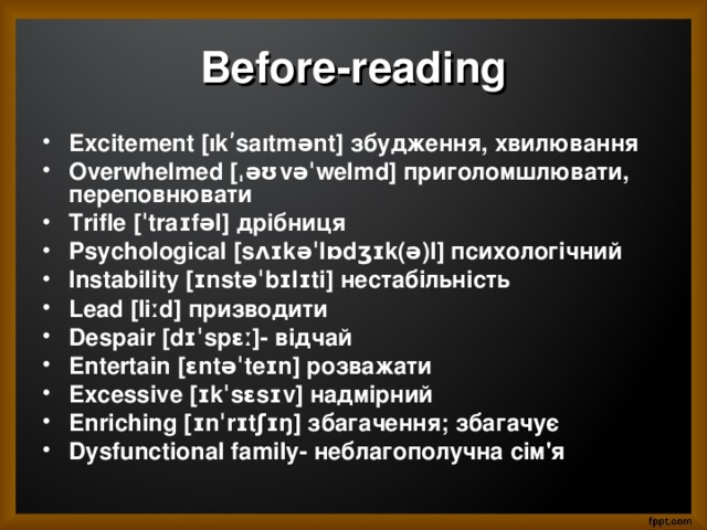 Before-reading