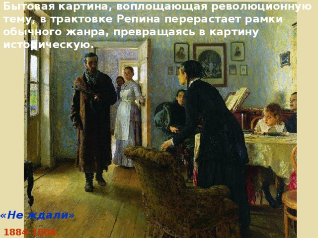 Бытовая картина, воплощающая революционную тему, в трактовке Репина перерастает рамки обычного жанра, превращаясь в картину историческую. «Не ждали» 1884-1888.
