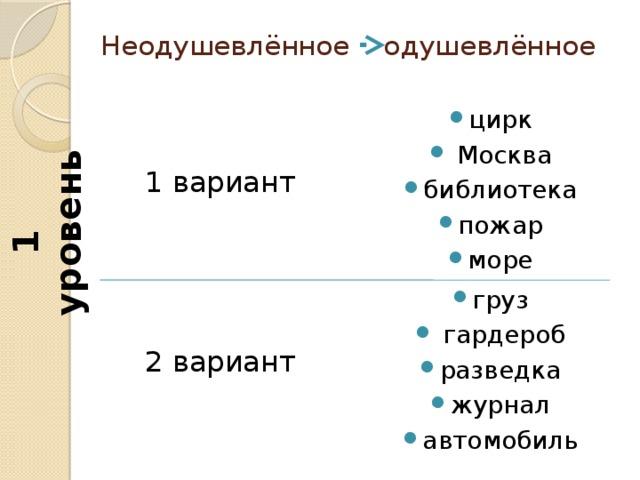 1 уровень Неодушевлённое одушевлённое цирк  Москва библиотека пожар море 1 вариант груз  гардероб разведка журнал автомобиль 2 вариант