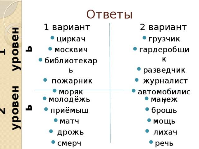 2 уровень 1 уровень Ответы 2 вариант 1 вариант