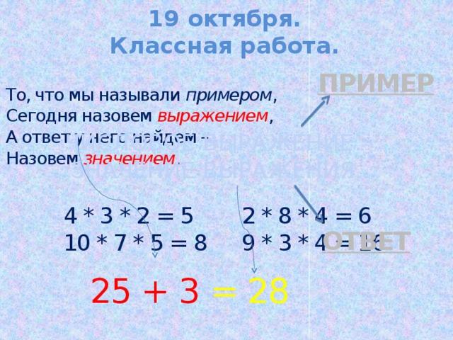 19 октября. Классная работа. ПРИМЕР То, что мы называли примером , Сегодня назовем выражением , А ответ у него найдем – Назовем значением . ЧИСЛОВОЕ ВЫРАЖЕНИЕ. ЗНАЧЕНИЕ ВЫРАЖЕНИЯ. 4 * 3 * 2 = 5 2 * 8 * 4 = 6 10 * 7 * 5 = 8 9 * 3 * 4 = 16 оТВЕТ 25 + 3 = 28