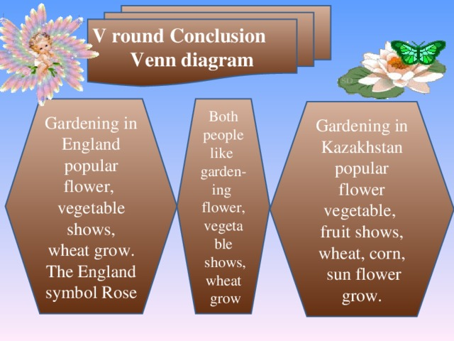 V round Conclusion Venn diagram Gardening in England popular flower ,  vegetable shows , wheat grow. The England symbol Rose Both people like garden-ing flower ,  vegetable  shows , wheat  grow Gardening in Kazakhstan popular flower vegetable ,  fruit shows , wheat , corn ,  sun flower grow.