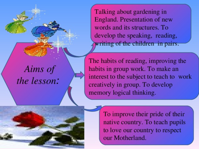 Talking about gardening in England. Presentation of new words and its structures.  To develop the speaking , reading , writing of the children  in pairs.  Aims of the lesson : The habits of reading , improving the habits in group work. To make an interest to the subject to teach to  work creatively in group. To develop memory logical thinking . To improve their pride of their native country. To teach pupils to love our country to respect our Motherland.