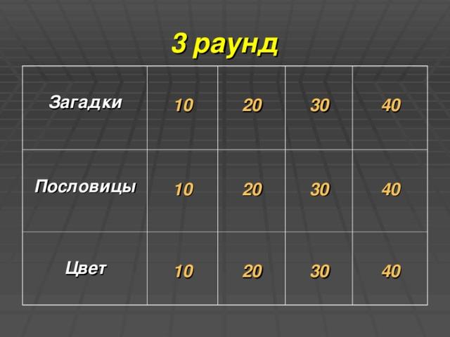 3 раунд  Загадки   10  Пословицы   20  10  Цвет   30  20  10  40  30  20  40  30  40