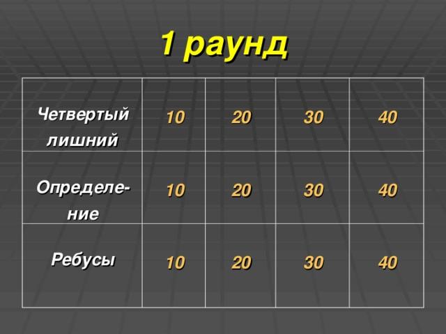 1 раунд  Четвертый лишний  10  Определе- ние  20  10  Ребусы  30  10  20  40  30  20  30  40  40