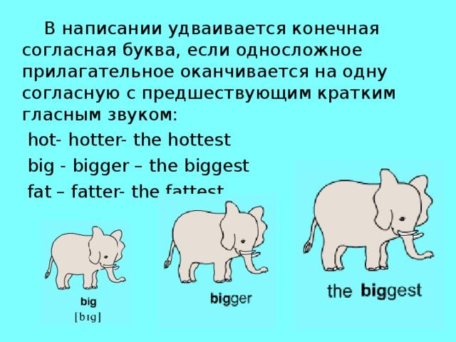 В написании удваивается конечная согласная буква, если односложное прилагательное оканчивается на одну согласную с предшествующим кратким гласным звуком:  hot- hotter- thehottest  big - bigger – the biggest  fat – fatter- the fattest