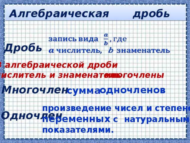дробь Алгебраическая  Дробь В алгебраической дроби числитель и знаменатель многочлены Многочлен одночленов сумма произведение чисел и степеней переменных снатуральными показателями. Одночлен