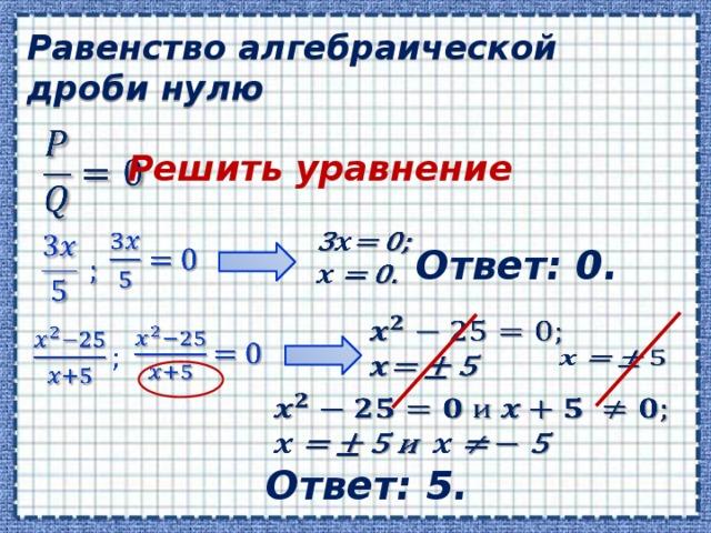 Равенство алгебраической дроби нулю  Решить уравнение    Ответ: 0.      Ответ: 5.