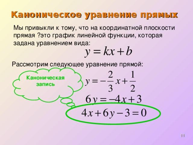 Каноническое уравнение прямых Мы привыкли к тому, что на координатной плоскости прямая  это график линейной функции, которая задана уравнением вида: Рассмотрим следующее уравнение прямой: Каноническая  запись