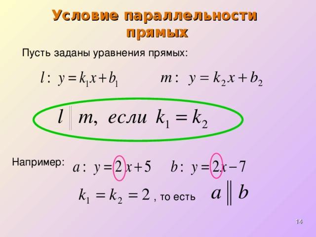 Условие параллельности  прямых Пусть заданы уравнения прямых : Например: , то есть