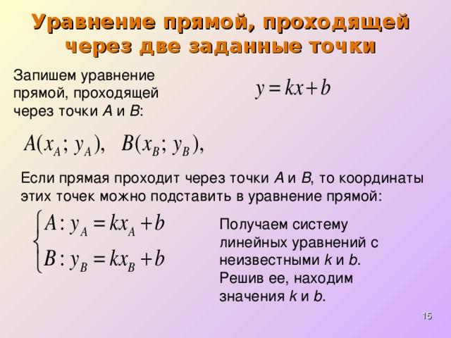 Уравнение прямой, проходящей через две заданные точки Запишем уравнение прямой, проходящей через точки А и В : Если прямая проходит через точки А и В , то координаты этих точек можно подставить в уравнение прямой: Получаем систему линейных уравнений с неизвестными k и b . Решив ее, находим значения k и b .
