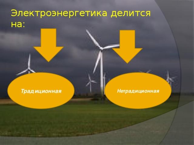 Электроэнергетика делится на: Традиционная Нетрадиционная