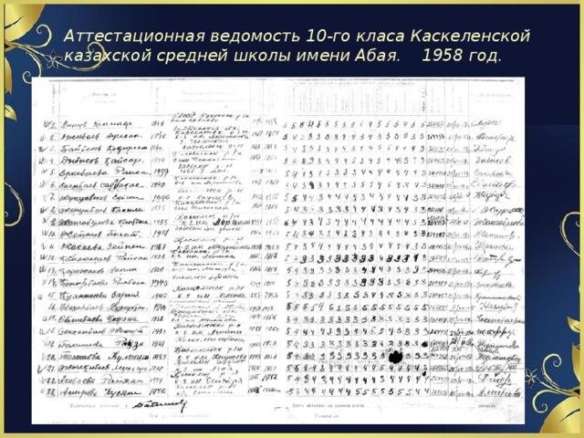 Аттестационная ведомость 10-го класа Каскеленской казахской средней школы имени Абая. 1958 год.