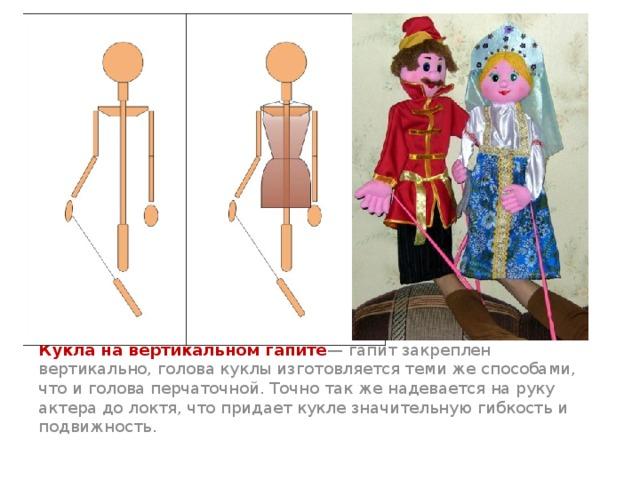 Кукла на вертикальном гапите — гапит закреплен вертикально, голова куклы изготовляется теми же способами, что и голова перчаточной. Точно так же надевается на руку актера до локтя, что придает кукле значительную гибкость и подвижность.
