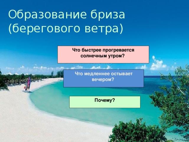 Образование бриза  (берегового ветра) Что быстрее прогревается солнечным утром? Что медленнее остывает вечером? Почему?