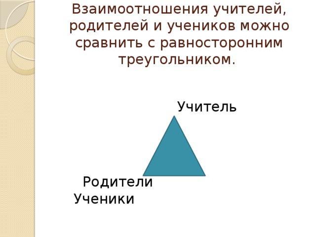 Взаимоотношения учителей, родителей и учеников можно сравнить с равносторонним треугольником.       Учитель     Родители Ученики