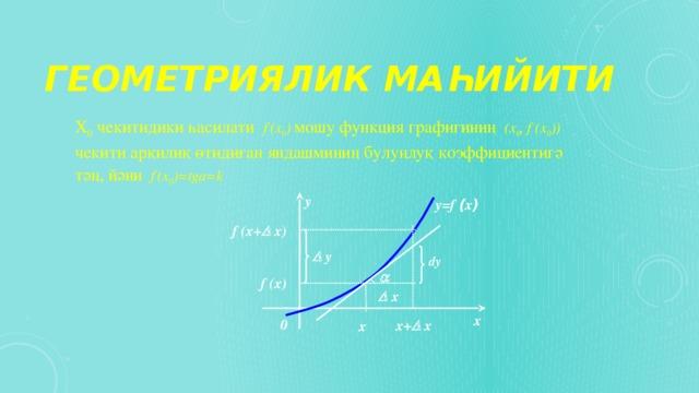Геометриялик маһийити Х 0 чекитидики һасилати f ` (x 0 )  мошу функция графигиниң (х 0 , f (х 0 ))  чекити арқилиқ өтидиған яндашминиң булуңлуқ коэффициентигә тәң, йәни  f ` (x 0 )=tga=k  y y=f ( x ) f (x+  x)   y dy  f (x)   x x 0 x+  x x