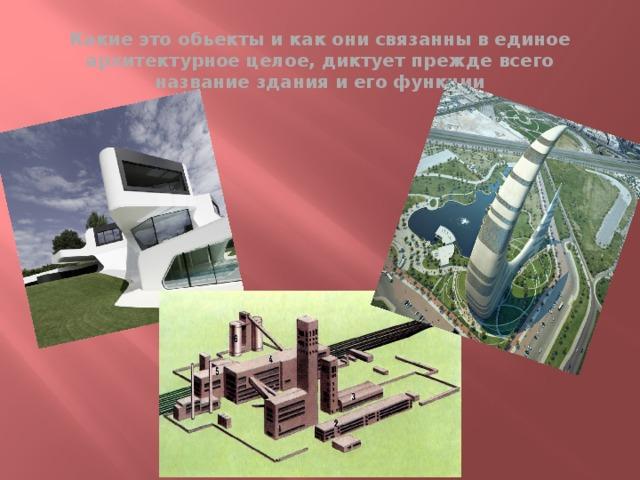 Какие это обьекты и как они связанны в единое архитектурное целое, диктует прежде всего название здания и его функции