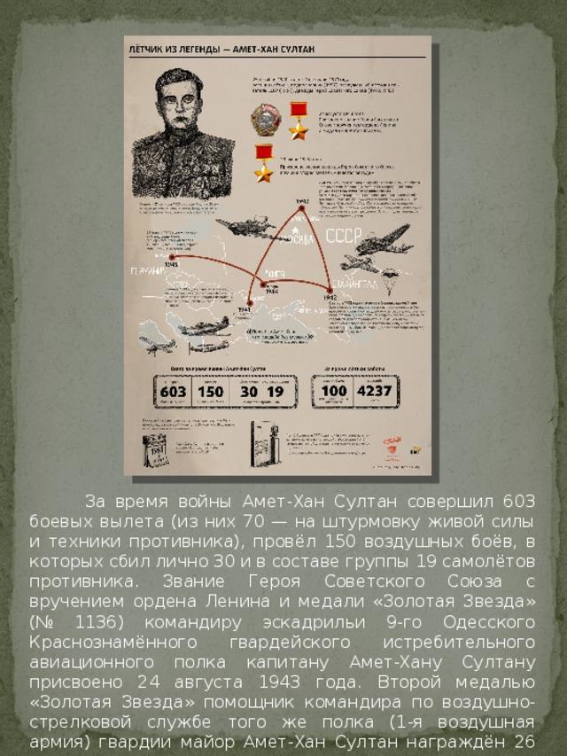 За время войны Амет-Хан Султан совершил 603 боевых вылета (из них 70 — на штурмовку живой силы и техники противника), провёл 150 воздушных боёв, в которых сбил лично 30 и в составе группы 19 самолётов противника. Звание Героя Советского Союза с вручением ордена Ленина и медали «Золотая Звезда» (№ 1136) командиру эскадрильи 9-го Одесского Краснознамённого гвардейского истребительного авиационного полка капитану Амет-Хану Султану присвоено 24 августа 1943 года. Второй медалью «Золотая Звезда» помощник командира по воздушно-стрелковой службе того же полка (1-я воздушная армия) гвардии майор Амет-Хан Султан награждён 26 июля 1945 года.