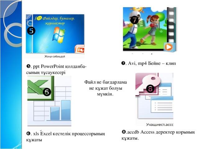❼ ❺ ❼ . Avi, mp4 Бейне – клип ❺ . ppt PowerPoint қолданба- сының тұсаукесері Файл не бағдарлама не құжат болуы мүмкін. ❽ ❻ ❽ ❽ .accdb Access деректер қорының құжаты. ❻ . xls Excel кестелік процессорының құжаты