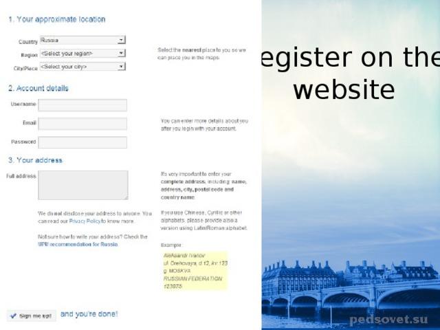 Register on the website