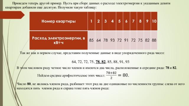 Приведем теперь другой пример. Пусть при сборе данных о расходе электроэнергии к указанным девяти квартирам добавили еще десятую. Получили такую таблицу: Так же как в первом случае, представим полученные данные в виде упорядоченного ряда чисел: 64, 72, 72, 75, 78 , 82 , 85, 88, 91, 93 В этом числовом ряду четное число членов и имеются два числа, расположенные в середине ряда: 78 и 82 . Число 80 , не являясь членом ряда, разбивает этот ряд на две одинаковые по численности группы: слева от него находятся пять членов ряда и справа тоже пять членов ряда:
