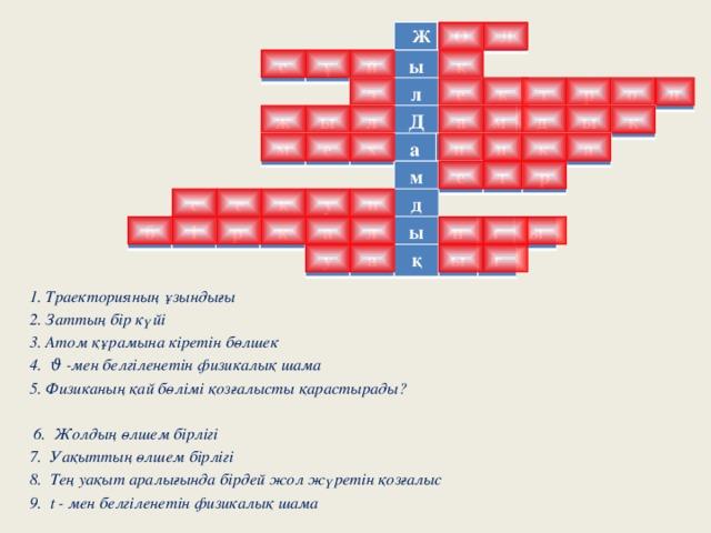 Ж О Л с ұ й ы қ э л е к т р о н ж ы л Д а м д ы қ м е х а н и к а м е т р с е к у н д б і р қ а л ы п т ы у а қ ы т 1. Траекторияның ұзындығы 2. Заттың бір күйі 3. Атом құрамына кіретін бөлшек 4. ϑ -мен белгіленетін физикалық шама 5. Физиканың қай бөлімі қозғалысты қарастырады?   6. Жолдың өлшем бірлігі 7. Уақыттың өлшем бірлігі 8. Тең уақыт аралығында бірдей жол жүретін қозғалыс 9. t - мен белгіленетін физикалық шама