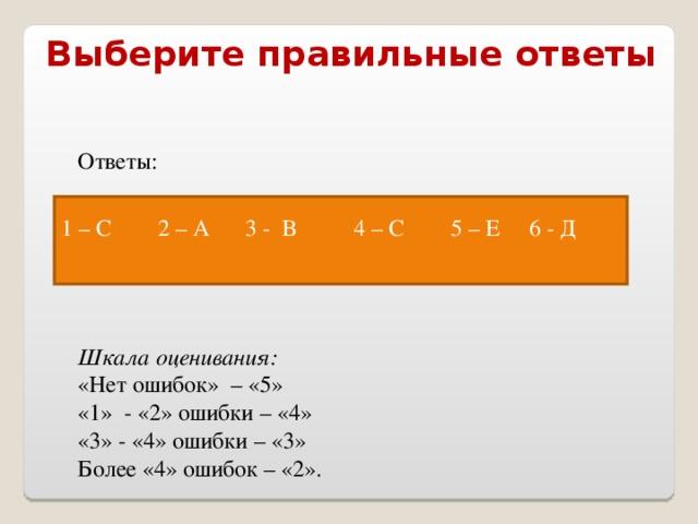 Выберите правильные ответы Ответы:  Шкала оценивания: «Нет ошибок» – «5» «1» - «2» ошибки – «4» «3» - «4» ошибки – «3» Более «4» ошибок – «2». 1 – С 2 – А 3 - В 4 – С 5 – Е 6 - Д