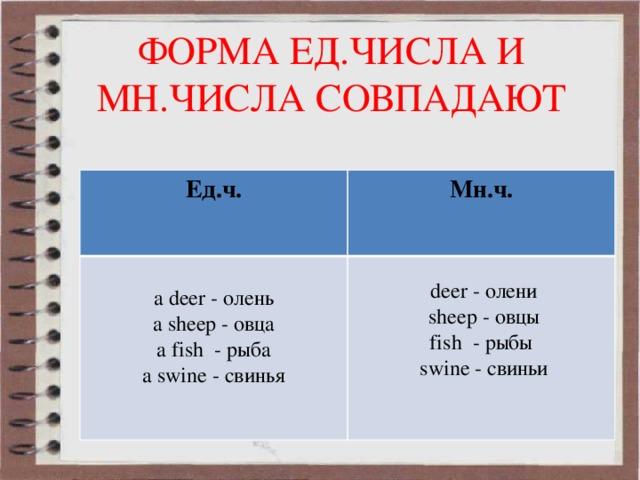 ФОРМА ЕД.ЧИСЛА И МН.ЧИСЛА СОВПАДАЮТ Ед.ч. Мн.ч. a deer - олень  deer - олени a sheep - овца a fish - рыба  sheep - овцы fish - рыбы a swine - свинья  swine - свиньи