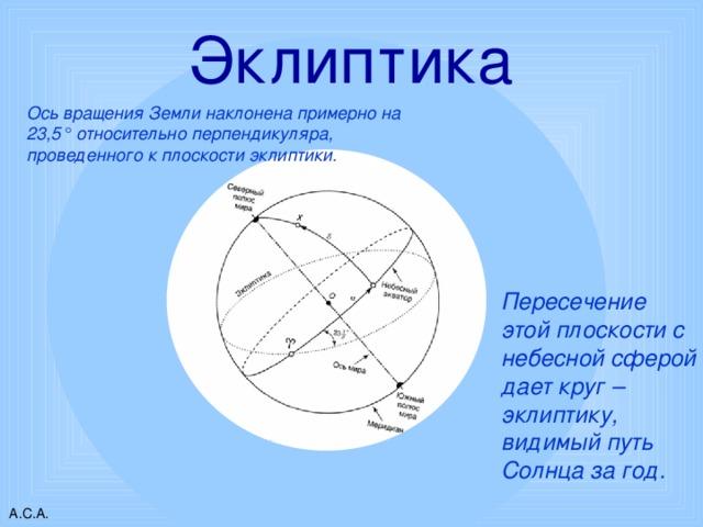 Эклиптика Ось вращения Земли наклонена примерно на 23,5° относительно перпендикуляра, проведенного к плоскости эклиптики. Пересечение этой плоскости с небесной сферой дает круг – эклиптику, видимый путь Солнца за год. А.С.А.