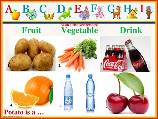 Make the sentences!  Fruit Vegetable Drink 3. 1. 2. 4. 5. 6. Potato is a …