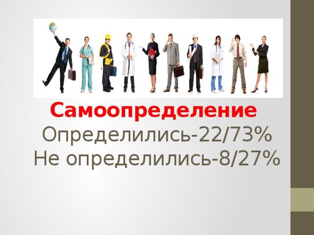 Самоопределение  Определились-22/73%  Не определились-8/27%