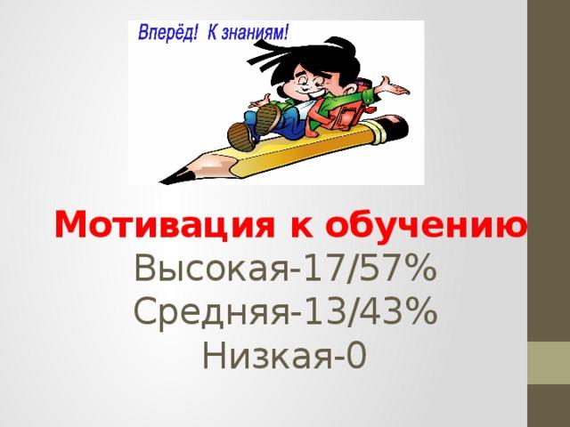 Мотивация к обучению  Высокая-17/57%  Средняя-13/43%  Низкая-0