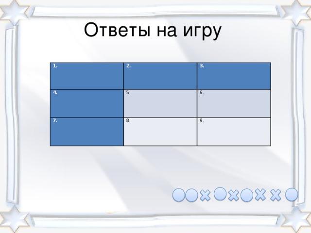 Ответы на игру 1. 2. 4. 3. 5 7. 8. 6. 9.
