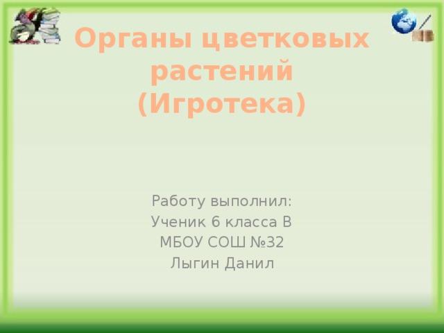 Органы цветковых растений  (Игротека) Работу выполнил: Ученик 6 класса В МБОУ СОШ №32 Лыгин Данил