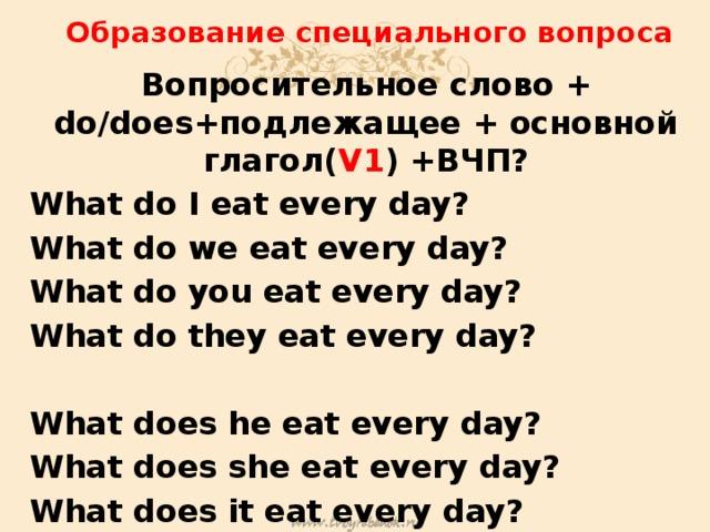 Образование специального вопроса Вопросительное слово + do/does+подлежащее + основной глагол( V1 ) +ВЧП? What do I eat every day? What do we eat every day? What do you eat every day? What do they eat every day?  What does he eat every day? What does she eat every day? What does it eat every day?